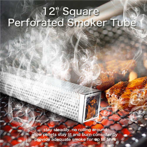 Pellet Smoker Tube, 12'' Stainless Steel BBQ Wood Pellet Tube Smoker for Cold/Hot Smoking, Portable Barbecue Smoke Generator Works with Electric Gas Charcoal Grill or Smokers, Bonus Brush, Square