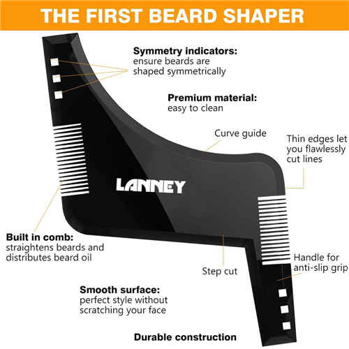 Beard Shaper Template Beard Shaping Tool Styling Comb Stencil for Goatee Mustache Sideburns, Facial Hair Trimming Guide Grooming Shaper for Men, Jaw/Cheek/Neck Line, Symmetric/Curve/Step/Straight Cut …