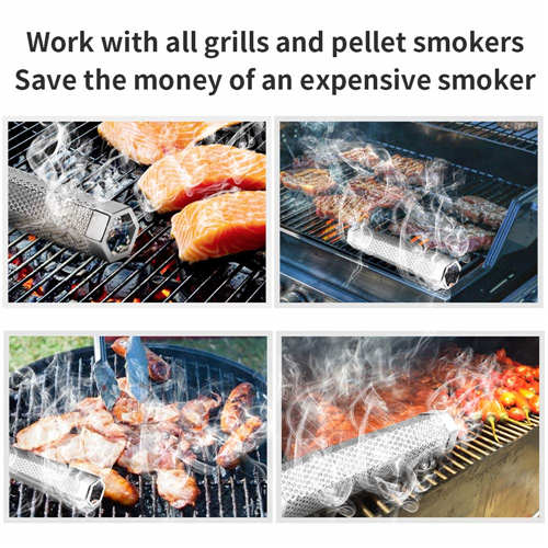 Pellet Smoker Tube, 12'' Stainless Steel BBQ Wood Pellet Tube Smoker for Cold/Hot Smoking, Portable Barbecue Smoke Generator Works with Electric Gas Charcoal Grill or Smokers, Bonus Brush, Hexagon