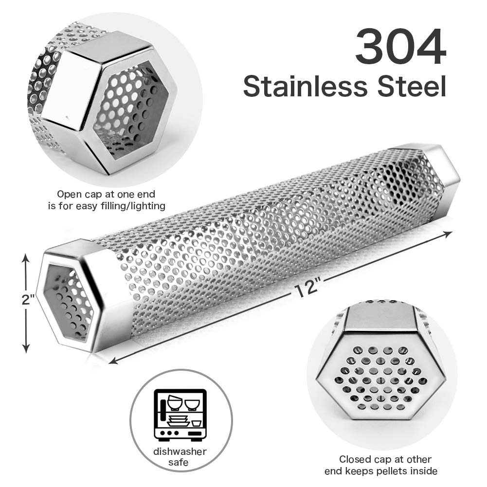 LANNEY Pellet Smoker Tube, 12'' Stainless Steel BBQ Wood Pellet Tube Smoker for Cold/Hot Smoking, Portable Barbecue Smoke Generator Works with Electric Gas Charcoal Grill or Smokers, Hexagonal