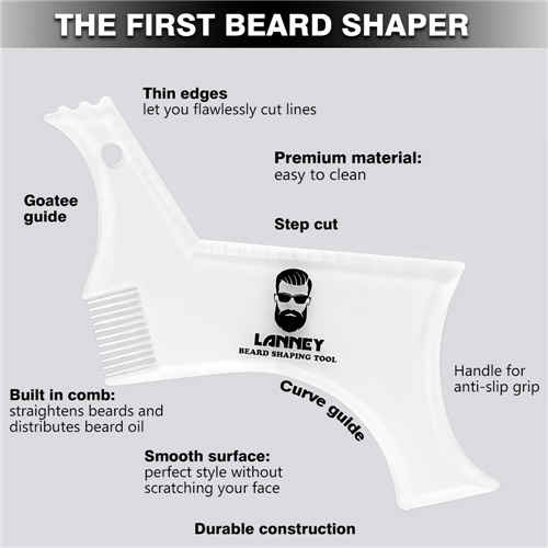 Beard Shaper Template Beard Shaping Tool Transparent Styling Comb Stencil for Goatee Mustache Sideburns, Facial Hair Trimming Grooming Guide for Men, Jaw Cheek/Neck Line, Symmetric/Curve/Step Cut …