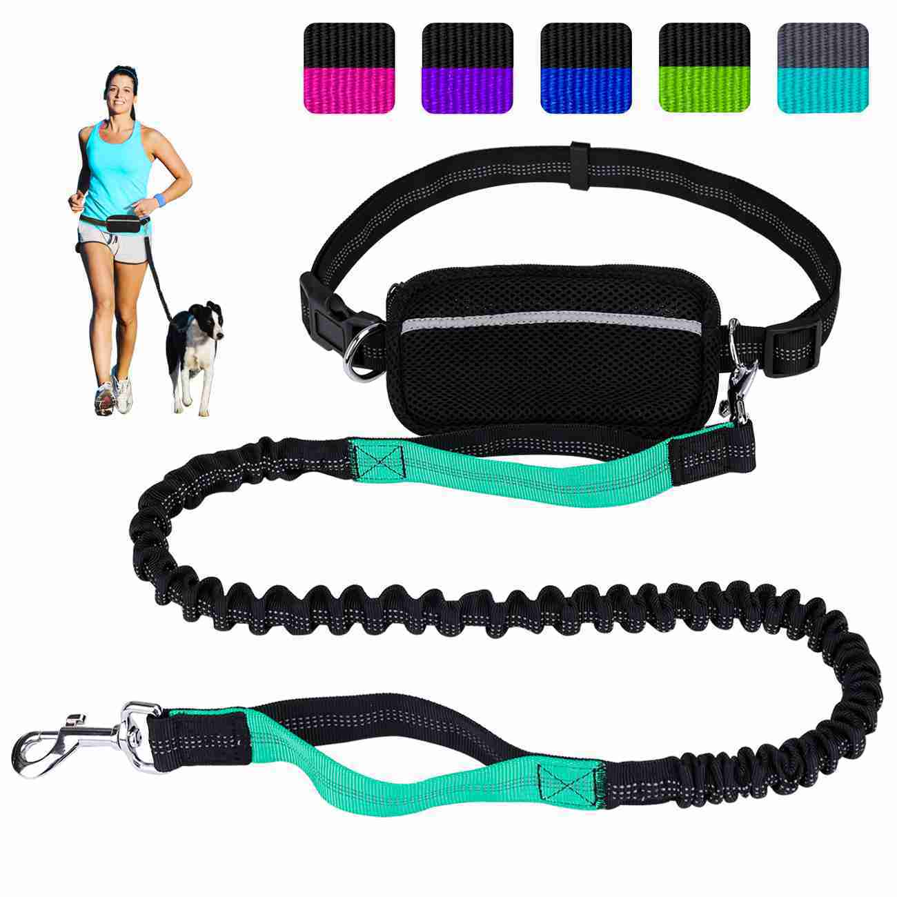 Hands Free Dog Leash for Running Walking Training Hiking, Dual-Handle Shock Absorbing Reflective Bungee, Adjustable Waist Belt and Pouch, Ideal for Medium to Large Dogs (Black / Teal)