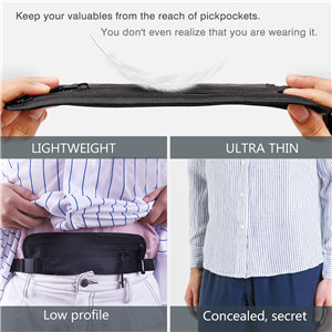 LANNEY Travel Money Belt Blocking Wallet for Credit Card & Passport Holder with 2pcs RFID Sleeves (Black)